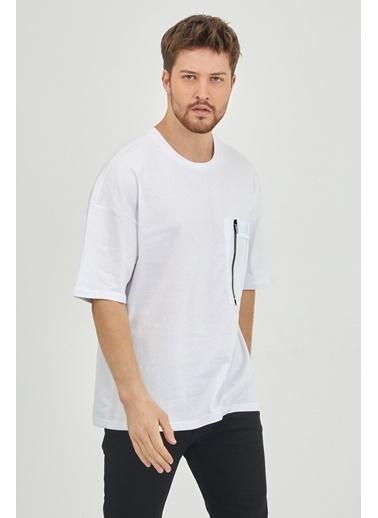 XHAN Vizon Fermuar Detaylı Tek Cepli T-Shirt 1Kxe1-44628-29 Beyaz